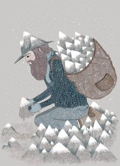 illustration snow mountain