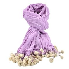 I pinned this Tiny Tassels Scarf in Lilac from the HOLI event at Joss and Main!