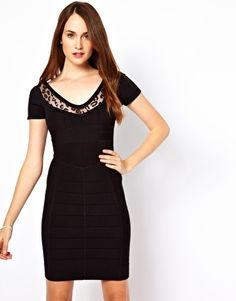 French Connection Animal Lace Insert Bodycon Dress