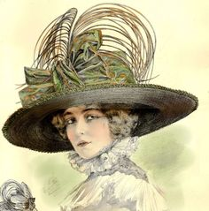 Paris Ladies Hat Fashion Plates La Belle Epoque 1911 French Millinery