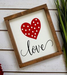 This Farmhouse Love Sign is darling. so fun to add to your Valentine& Day Decor! This is a popular item among our customers! Love Sign-Wood Heart Sign-Valentines Day Decorations-Wood Framed Sign-Farmhouse Decor-Rustic Valentines Home Decor-Red Roses Valentine, Funny Valentine, Valentine Day Love, Valentine Day Crafts, Printable Valentine, Homemade Valentines, Valentine Wreath, Valentine Ideas, Saint Valentin Diy