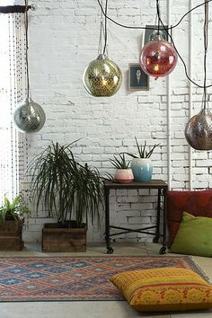 Industrial Bohemian  THIS BOARD IS GREAT CHECK IT OFTEN FOR IDEAS Warehouse Home, Magical Thinking, All Of The Lights, Globe Pendant, Dream Decor, Apartment Interior, Beautiful Interiors, Home Decor Inspiration, House Design