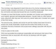 Statement: The Atlanta-based firm posted this to their Facebook, confirming that Roth had been fired
