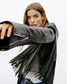 Understated Leather: For Her Fringe Jacket, Leather Jacket, Heavy Jacket, Leather Design, Cowhide Leather, Bell Sleeves, Hairstyle, Clothes For Women, My Style
