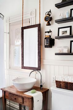 sink/cabinet small bathroom Bathroom Decor Elaborate mirror, wood panelling and stone console wash stand. Bathroom Inspiration, White Rooms, Bathrooms Remodel, Rustic Bathroom, Black White Rooms, Bathroom Decor, Interior, Bathroom Design, Bathroom Sink Cabinets