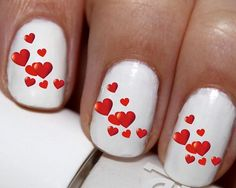 20 pc Valentines Day Hearts  Nail Art Nail Decals Nail Stickers Lowest Price On Etsy #cg4376na5