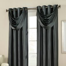 these window panels and valances are so dramatic and elegant