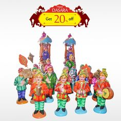 Buy this exclusive and authentic Eco-friendly #MysoreDasaraSet  and make your #Dasara  set more unique.Get 20% off on all #DasaraDolls . Hurry Up! Order now!  #BringHomeFestival