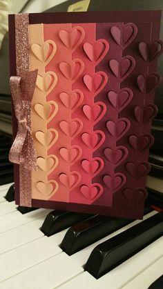 Stampin Up! Herzen-Karte Liebe Grüße, Geburtstag Liebesgrüße Framelits, Love Notes Framelits Stampin-Bunny.blogspot.com Homemade Greeting Cards, Origami, Card Patterns, Card Making Inspiration, Card Maker, Valentine Day Cards, Cool Cards, Kids Cards, Stampin Up Cards