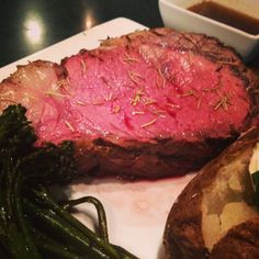 Rosemary Crusted Prime Rib A 16 oz. cut of Prime Rib rubbed with rosemary and seasonings and slow roasted to perfection served with balsamic broccolini  choice of potato and soup or salad.