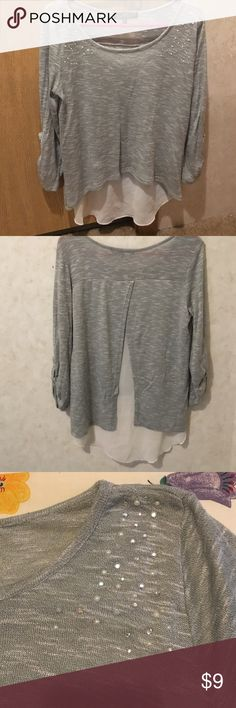 Sequined detailed light weight gray sweater Sequined detailed light weight gray sweater. High low. With white inset on the back. Almost Famous Tops Blouses
