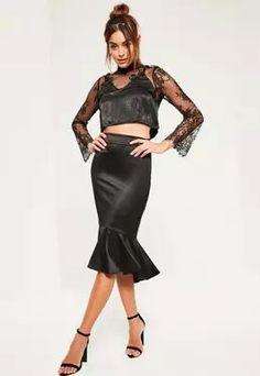 Black satin frill dip hem midi skirt..miss