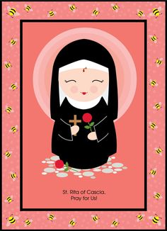 Rita of Cascia, Pray for Us! Saint Rita of Cascia is the patron saint of lost and impossible causes, sickness, marital problems, and mothers Catholic Art, Catholic Saints, Patron Saints, Religious Art, Santa Rita De Cascia, St Rita Of Cascia, Saints For Kids, All Saints Day, Santa Baby