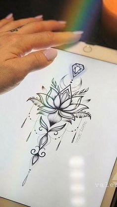 Lotusblume Tattoo Designs - 30 Modelle - Portal-Tipps - - My most beautiful tattoo list Mandala Arm Tattoo, Sternum Tattoo Design, Lotus Flower Tattoo Design, Tattoo Flowers, Mandala Art, Mandala Design, Drawing Flowers, Lotus Drawing, Mandala Flower Tattoos