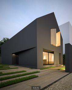 HMVN_casa cosm - Ideas for the House - Architektur Architecture Durable, Black Architecture, Minimalist Architecture, Contemporary Architecture, Interior Architecture, House Roof, Facade House, Patio Interior, Modern House Design
