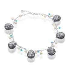 La Preciosa Sterling Silver Ice CZ Turquoise CZ and Freshwater Pearl Charm Bracelet