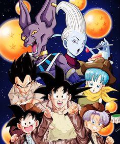 Bulma, Vegeta, Trunks, Goten, Goku, Beerus, and Whis