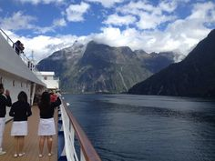Silver Spirit guests and crew take photos of Milford Sound. What a bucket list experience!