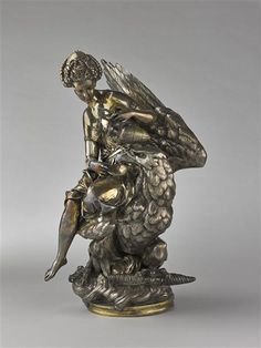 Albert-Ernest Carrier-Belleuse, Hebe and Jupiter's Eagle, Paris, Orsay Museum. Second Empire, Architectural Antiques, 19th Century, Eagle, Museum, Bronze, Sculpture, Statue, Paris