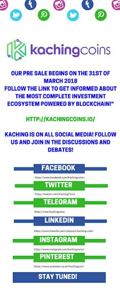 Get the latest news and updates about KACHINCOINS. FOLLOW our Telegram community!   Visit our website!    #kaching #kachingcoins #kachingcoin #ico #preicosale #blockchain #blockchain #crypto #cryptocurrency #ether #ethereum #KAC