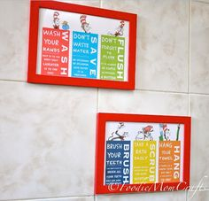 One Fish Two Inspired Set Of 4 Dr Seuss Bathroom Pinterest Kid Bathrooms Walls And Wall Decor