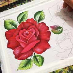 Simple Acrylic Paintings, Easy Paintings, Tole Painting, Fabric Painting, Metal Roses, Brush Embroidery, Rock Crafts, Flower Pictures, Embroidery Techniques