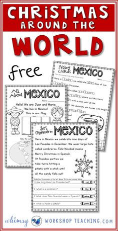 Study different cultures of the world and discover how they celebrate Christmas! These are pages about Christmas in Mexico. Kids Around The World, Holidays Around The World, We Are The World, Around The Worlds, Christmas Writing, Preschool Christmas, Christmas Books, Merry Christmas, Xmas