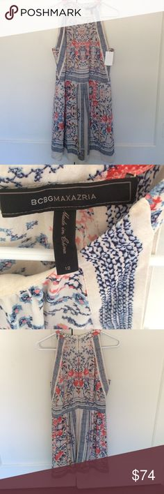 """BCBG dress """"Cambria Printed Halter Dress"""".   100% Polyester, in perfect condition. Zips up the back and two tiny buttons by collar BCBGMaxAzria Dresses Mini"""