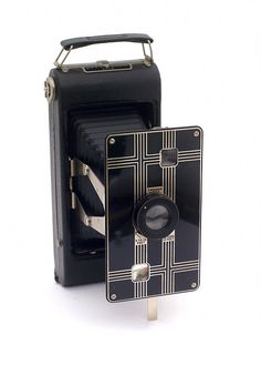 Another beautiful Art Deco design, Kodak Jiffy folding camera