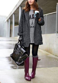 Dark Grey Tweed Coat//