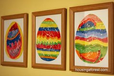 Rubber Cement Resist ~ Fun Kids Easter Wall Art
