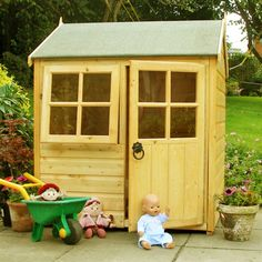 The Shire x x Bunny Shiplap Playhouse features an attractive apex roof protected by roof felt one criss cross Perspex window that opens… Kids Wooden Playhouse, Garden Playhouse, Pallet Playhouse, Playhouse Outdoor, Outdoor Play, Pallet Patio, Backyard Play, Wooden Teepee, Castle Playhouse