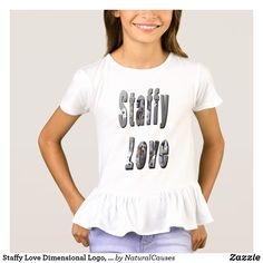 Staffy Love Dimensional Logo, Girls Ruffle Tee. T-Shirt