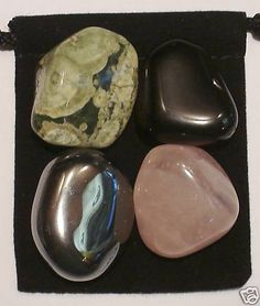 SELF-CONFIDENCE Tumbled Crystal Healing Set - 4 Gemstones w/Description & Pouch - Black Onyx, Hematite, Rose Quartz, and Rhyolite. $4.99, via Etsy.