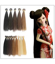 5pcs/lot 15cm Long Straight Synthetic Handcraft Hair Wefts for DIY BJD Blythe Pullip Doll's Wig