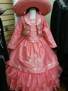 Trajes Charros y Folkloricos Charro Outfit, Charro Dresses, Kids Party Wear Dresses, Little Girl Dresses, Girls Dresses, Baptism Outfit, Baptism Dress, Vestido Charro, Mexican Quinceanera Dresses