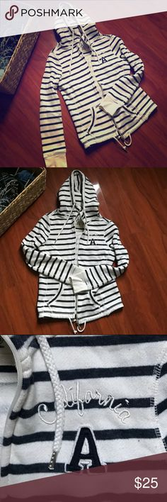 Hoodie Athmosphere woman. Blue and white stripes Eur size 36- it's like a XS/Small american equivalent- has a zipper and blue stripes Tops Sweatshirts & Hoodies