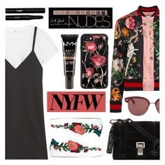 Pack for NYFW by dora04 on Polyvore featuring polyvore fashion style MANGO Gucci Proenza Schouler Casetify Oliver Peoples Charlotte Russe NYX Yves Saint Laurent clothing NYFW