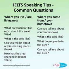 IELTS Speaking Tips - Common Questions (Tell me about) ‪#‎ielts‬ ‪#‎speaking‬ #eagespokenenglish