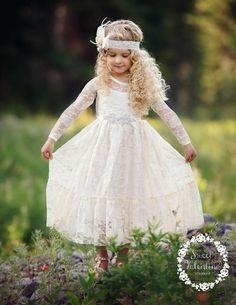 c39ab74ca28e Flower girl dress,Flower girl dresses, flower girl lace dresses, ivory lace  dress, Country Rustic flower girl dress,long sleeve lace dress. Girls ...