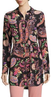 Etro Belted Paisley-Print Silk Tunic