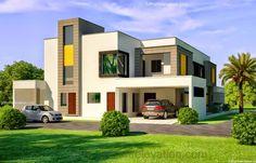 1 Kanal Corner Plot @ 2 House Design Lahore Beautiful House 1 Kanal Modern 3D Front elevation.com - Dimentia