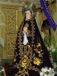 Ntra. Sra. de la Soledad,  Altar del Calvario,Templo del Barrio de San Juan Texpolco o Calvario, San Pedro Cholula, Pue. | da Tach Jrez. Hra.