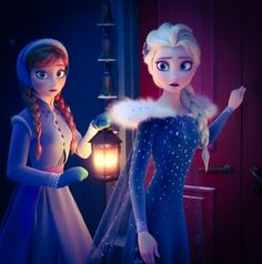 Anna and Elsa worried about Olaf.