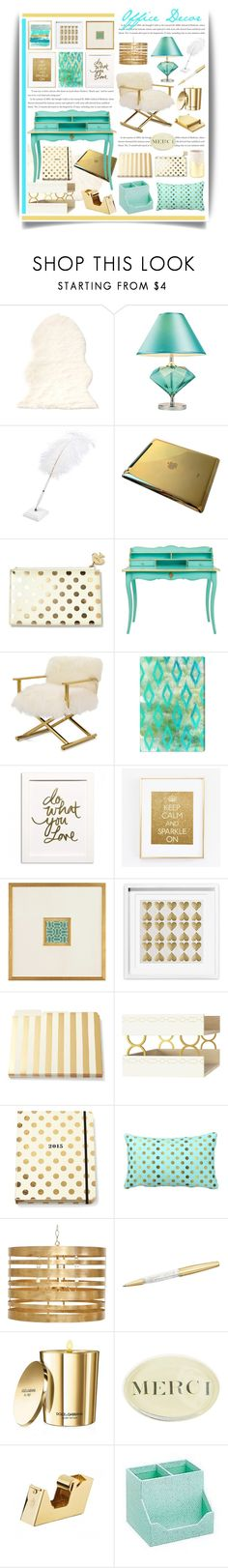 """Gold & Aqua Office Decor"" by hmb213 ❤ liked on Polyvore featuring interior, interiors, interior design, home, home decor, interior decorating, Kate Spade, Mitchell Gold + Bob Williams, Oliver Gal Artist Co. and John-Richard"