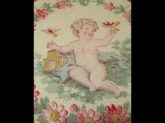 Child letting the birds out of their cage~antique french fabric