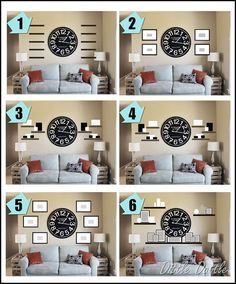 Wall Collage Idea With A Clock As The Center