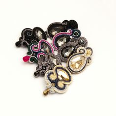 soutache earrings crystals statement jewelry