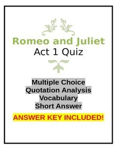 A comprehensive quiz on Act 1 of the play. Comprised of four sections:Multiple Choice questionsQuotation Analysis questionsVocabulary matchingShort Answer questionsThis Quiz is saved as a Microsoft Word document to allow easy editing and updating. Change or modify any section to create an unlimited number of quizzes.Grades 9 through 12
