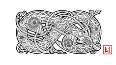 hedendom: Mammen style artwork depicting a serpent by one-rook. The Mammen style is a type of Scandinavian animal art found from the late 10th Century to the early 11th Century named after finds from the chamber tomb at Mammen in Jutland, Denmark